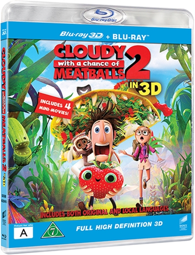 DET REGNER MED FRIKADELLER 2 - 3D - CLOUDY WITH A CHANCE OF MEATBALLS -3D [BLU-RAY]